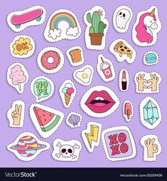 Girl fashion symbols stickers patches cute vector image on VectorStock Tumblr Stickers, Cool Stickers, Printable Stickers, Laptop Stickers, Journal Stickers, Scrapbook Stickers, Planner Stickers, Patches, Homemade Stickers