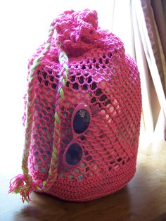Crochet Drawstring Beach Bag Crochet Pattern