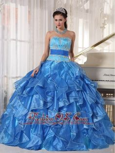 Romantic Blue Quinceanera Dress Strapless Organza Appliques Ball Gown  http://www.fashionos.com    This fabulous quinceanera ball gown features a fitted, strapless sweetheart neckline beaded bodice and a ruffled A-line silhouette. The back of this fancy quinceanera ball gown has a fashion lace up closure. Wear this dress and you surely will be the shining star.