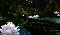 """""""Dim Sum"""" is a white cat camouflaged (or not) in the sceneries of Second Life. Your mission: Find Dim Sum. Dim Sum, Lotus, Scenery, Lights, Places, Opal, Travel, Lugares, Viajes"""