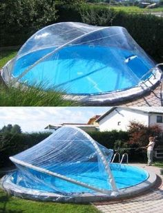 Dôme convertible PLUS pour piscines rondes jusqu'à 4,50 m (4,60 m). Piscine contre ...  #contre #convertible #Dôme #jusqu #jusqu39à #piscine #piscines #pour #rondes