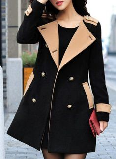 Trendy Turn-Down Collar Color Block Long Sleeve Worsted Coat For Women