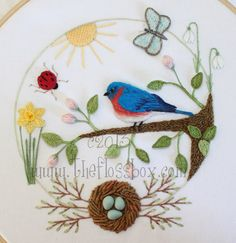 The Floss Box | Spring Bluebird Embroidery