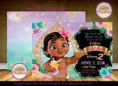 Moana Birthday Invitations, Moana First Birthday Invitations