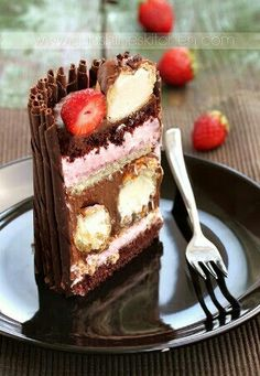 chocolate, strawberry mousse and eclairs cake Profiteroles, Eclairs, Chocolate Covered Fruit, Chocolate Desserts, Chocolates, Strawberry Wedding Cakes, Strawberry Mousse, Cool Cake Designs, Cake Decorating Videos