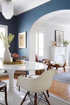 An open dining room / living room makeover Dining Room Paint Color-Navy Nautical Dining Rooms, Dining Room Blue, Dinning Room Tables, Dining Room Walls, Dining Area, Dining Room Paint Colors, Dining Room Design, Blue Living Room Paint, Modern Living Room Colors