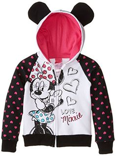 Disney Little Girls' Love Minnie Hoodie with Mouse Ears, Black, 6. Super cute. Will keep you warm. Great gift.