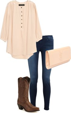 Cream over-sized tunic, blue denim skinny jeans, cream large clutch and brown cowboy boots with floral siding. I love this casual look, it could also be dressed up with a bulky necklace and black pumps. :)