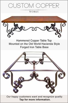 """This large 105"""" x 52"""" rectangle copper top dining table with matching end tables, console table and coffee table are truly exceptional works of art to behold. For someone who wants to make their copper top tables a center stage design statement in their home. Compliments ornate, old world Tuscan, Mediterranean, Mexican and Hacienda décor palettes. All sizes and copper patina color options available"""