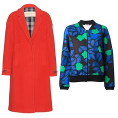 3 Ways To Layer Your Coats Like A Fashion Editor | The Zoe Report Wool Coat + Printed Bomber Jacket A printed bomber topped with a tomato-red wool duster makes a serious statement without sacrificing comfort.