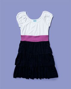 Pink Ginger Girls' Navy Colorblock Tiered Ruffle Dress