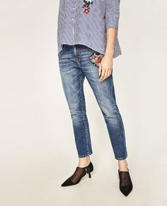 Relaxed Fit Flower Jeans   Zara