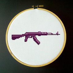 Purple AK-47 Assault Rifle Cross Stitch PDF Pattern via Etsy