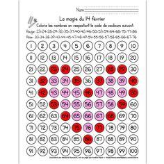 Fichier PDF téléchargeable En noir et blanc seulement 1 page L'élève colorie les nombres en respectant le code de couleurs donné. Il obtiendra un cœur rose au contour rouge.