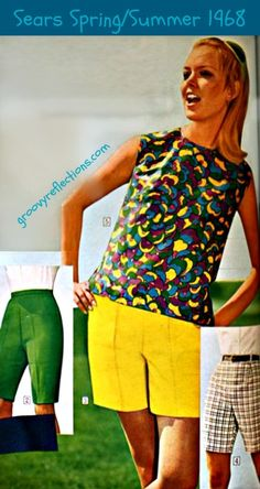 A mod shirt with green, yellow, blue and purple paired with yellow shorts, or green shorts! Sears Spring/Summer 1968 #sears #fashion #vintage #groovy