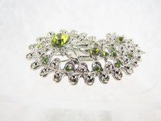 New Silver Horse Hair Clip Rhinestone Crystal Barrette Wedding Antique Gold Tone