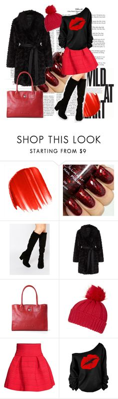 Black&red style by gasheeva on Polyvore featuring H&M, ASOS, Toscanella, Topshop, Urban Decay, leatherbags and Pierotucci
