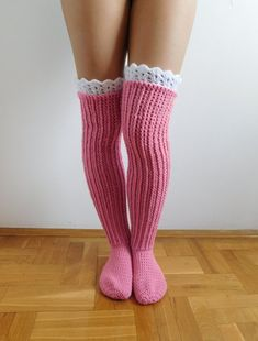 This listing is a Crochet PATTERN for knee high socks (or over the knee) with lace top, NOT a finished socks! Pattern is written in American Crochet terms and include 10 pages with 50 step by step pictures. Pattern includes directions on how to make croch Crochet Socks Pattern, Basic Crochet Stitches, Crochet Shoes, Crochet Slippers, Crochet Basics, Crochet Clothes, Crochet Patterns, Crochet Baby, Free Crochet