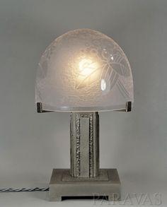 A rare french 1930 art deco lamp made by Henri FOURNET and Lorrain (Daum). ebay - paravas