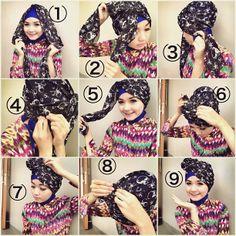 my tutorial hijab Tutorial Hijab Pesta, Turban Tutorial, Niqab, Scarf Styles, Crochet Necklace, Fashion Show, Tutorials, Ideas, Hairdos