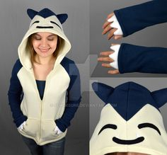 BLOG ETSY TUMBLR FACEBOOK I ended up with some leftover navy blue fleece and thought a Snorlax hoodie would be in order ^-^ However I only had enough to make it to fit me and not enough for a garga...