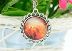 For Sale: #14 Colorful Galaxy and Planet Glass round Pendant silver plating Necklace - #14 Colorful Galaxy and Planet Glass round Pendant silver plating Necklace. New in pkg. 4.00 (cross posted)