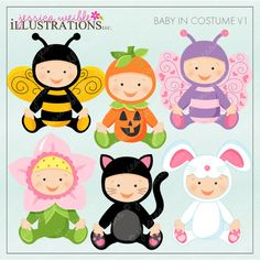 Baby In Costume V1 Cute Digital Clipart for от JWIllustrations