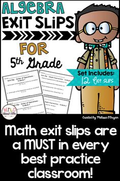 Don't wait for the big test to figure out who doesn't get it! With frequent math exit slips you can quickly assess your students and know immediately who has it and who doesn't. Math exit slips are a MUST in every best practice classroom!