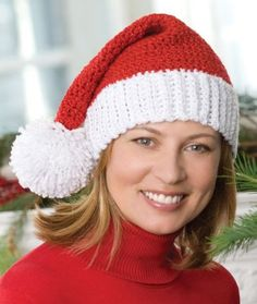 Santa Hat free crochet pattern - Free Crochet Holiday Accessory Patterns - The Lavender Chair Crochet Santa Hat, Sombrero A Crochet, Crochet Beanie, Knitted Hats, Knit Crochet, Dishcloth Crochet, Crochet Pattern Free, Crochet Gratis, All Free Crochet