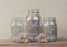3 mercury glass look mason jars. Silver decor by StyleJarsandCans, $30.00