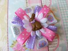 Pink & Purple Easter Bunny Hair Bow by LivelyGirlDesigns on Etsy, $4.00
