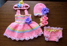 baby dress hat shoes headband diaper cover pattern por paintcrochet