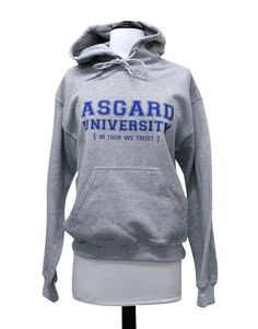 If your Alma mater was Asgard University then you definitely need this hoodie! This design is printed in royal blue ink on a heather grey UNISEX