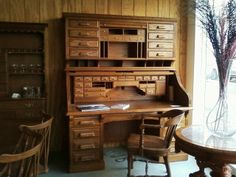 Wooton Oak Roll Top Desk With Rotary Sides The Rotary