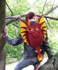 Felt dragon backpack.