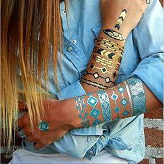 1PC Chic Gold Necklace Bracelet Tattoos Temporary Tattoos Sticker Cuticle Tattoos Symbol Flash Tattoos Party Tattoos – EUR € 2.99