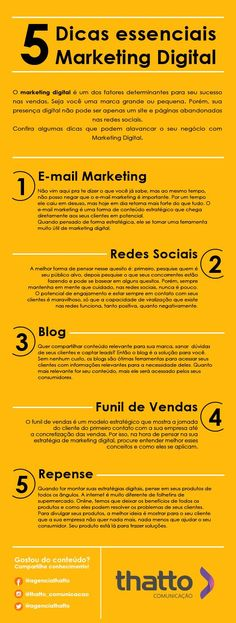 5 Essential Digital Marketing Tips! - Discover how to evolve in digital marketing with these 5 foolproof tips! Digital Marketing Strategy, Social Marketing, Marketing Visual, Digital Marketing Quotes, E-mail Marketing, Influencer Marketing, Business Marketing, Online Marketing, Affiliate Marketing