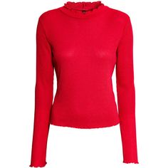 H&M Gerippter Pullover 4,99 (97 MAD) ❤ liked on Polyvore featuring tops, sweaters, h&m, red, ribbed turtleneck, turtleneck sweater, ruffled sweaters, red turtleneck and mock turtleneck sweater