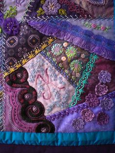 6 I ❤ crazy quilting embroidery . 26 x 32 inches ~By marcie carrI ❤ crazy quilting embroidery . 26 x 32 inches ~By marcie carr Crazy Quilt Stitches, Crazy Quilt Blocks, Crazy Quilting, Patchwork Quilting, Ribbon Embroidery, Embroidery Stitches, Embroidery Designs, Crazy Patchwork, Patchwork Ideas