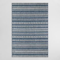 Blue and Ivory Geometric Stripe Lucca Indoor Outdoor Patio Rug Polypropylene Runner by World Market - Outdoor Rugs - Ideas of Outdoor Rugs Blue Outdoor Rug, Outdoor Dining Set, Outdoor Living Areas, Indoor Outdoor Area Rugs, Outdoor Shop, Indoor Outdoor Carpet, Patio Dining, Outdoor Spaces, World Market Rug