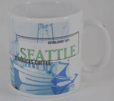 "Starbucks Seattle 1999 Porcelain Mug 20 oz Blue Orange Attractions 4 5"" Tall | $27.50"