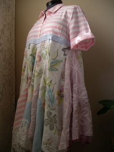 1bee54d1b Pink White Fairy Dress  Hipster Upcycled Dress by CycleOnStitches Recycled  Shirts