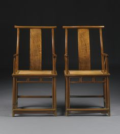 A pair of Huanghuali 'Official's Hat' yokeback armchairs (sichutou guanmaoyi), 17th-18th century