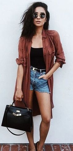 summer outfits Brown Cardigan + Black Top + Denim Short