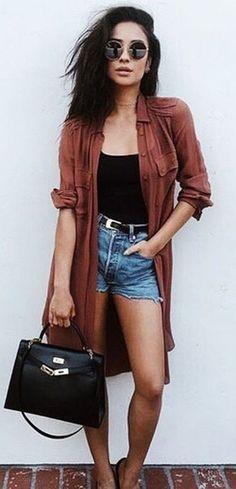 summer outfits Brown Cardigan + Black Top + Denim Short