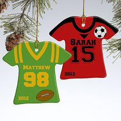 These Personalized Sports Jersey Christmas Ornaments can be personalized for football, baseball, basketball or soccer and you can choose from 10 shirt and accent colors so it matches their real team! These are a great Christmas Gift idea! #Christmas #Jersey