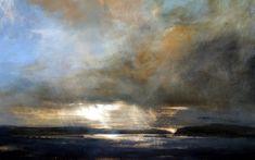 Early Light, Mull - Oil on Board - Zarina Stewart-Clark, Landscape Artist Sky Painting, Abstract Landscape Painting, Seascape Paintings, Landscape Art, Landscape Paintings, Abstract Art, Portrait Paintings, Acrylic Paintings, Art Paintings