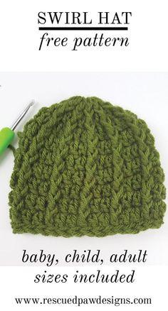 Free Crochet Pattern Swirl Hat by Rescued Paw Designs www.rescuedpawdesigns.com