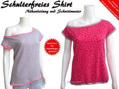 Schulterfreies Shirt, Nähanleitung & Schnittmuster von Trash-Monstarz®…
