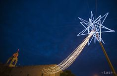 A Christmas star is seen in front of the Church of Nativity, believed to be the birthplace of Jesus Christ, in the West Bank town of Bethlehem, on Dec. Birthplace Of Jesus, Birth Of Jesus Christ, Star Of Bethlehem, Christmas Photos, Christmas Star, Bright Stars, Stargazing, Astronomy, Julius Caesar